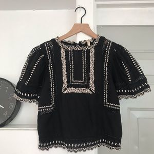 Rebecca Taylor Embroidered Crop Top